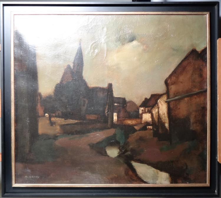 Painting oil on panel - The pinnacle leaning - signed Arsène DETRY