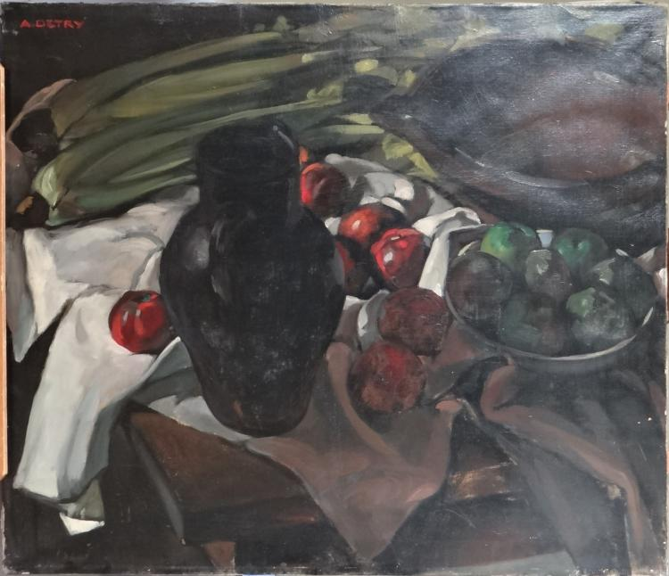 Painting oil on panel - Still Life - signed Arsène DETRY