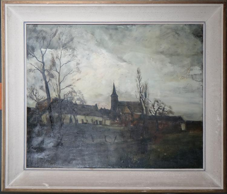 Painting oil on canvas - Village View - signed Lucien STAQUET