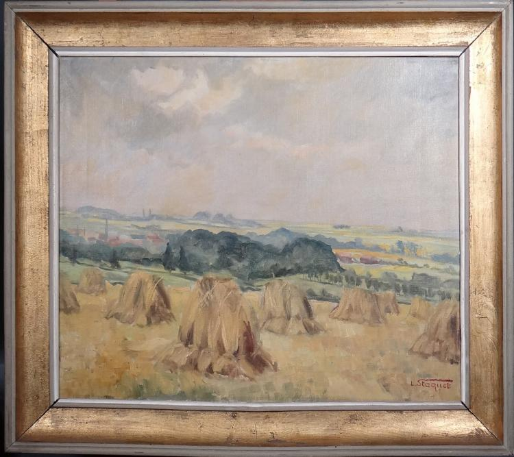 Painting oil on canvas - sheaves - signed Lucien STAQUET