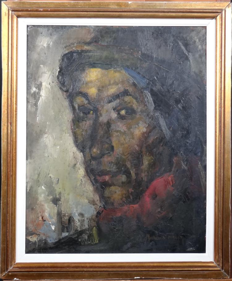 Painting oil on panel - minor Tete - signed CARION Marius
