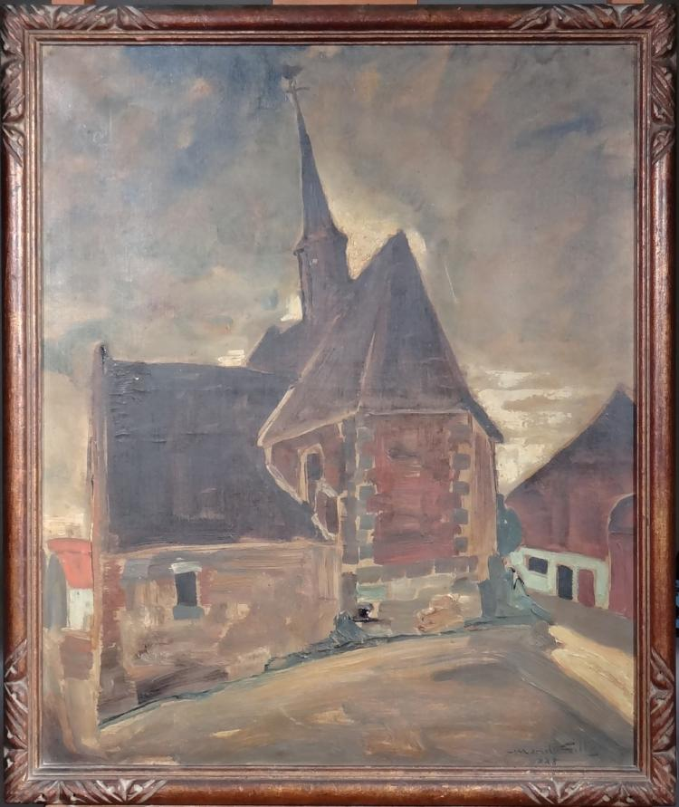 Painting oil on canvas - Church of Pommeroeul - signed Marcel GILLIS