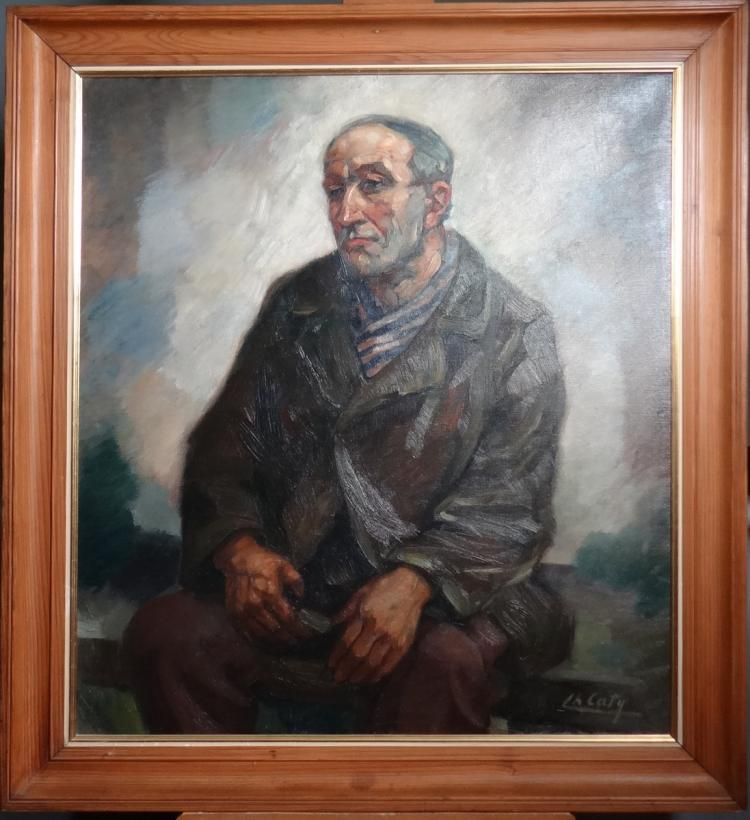 Painting oil on canvas - Portrait of a Man sitting - signed CATY Charles