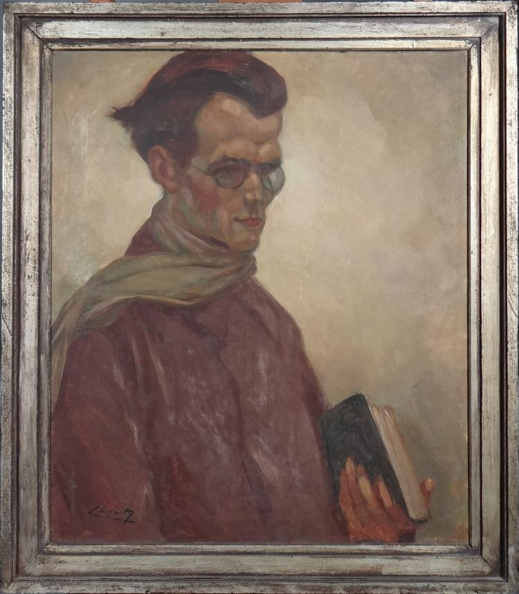 Painting oil on canvas - Portrait of a Man in the book - signed CATY Charles