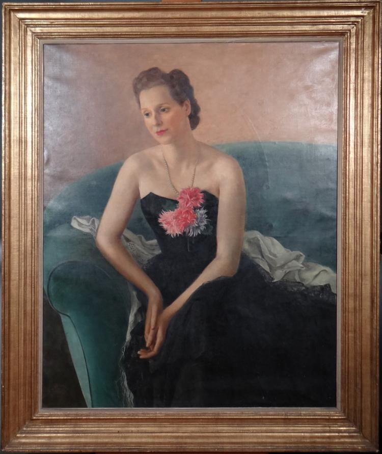 Painting oil on canvas - Portrait of a Lady sitting in evening dress - signed BUISSERET Louis