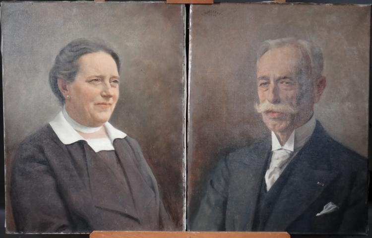 Pair of Painting oil on canvas - Portrait of couple - signed BUISSERET Louis