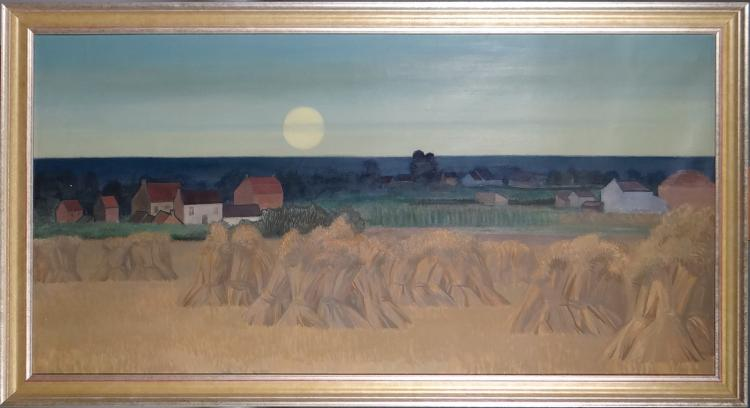 Painting oil on canvas - Haystacks - not finished Gommaerts Fernand
