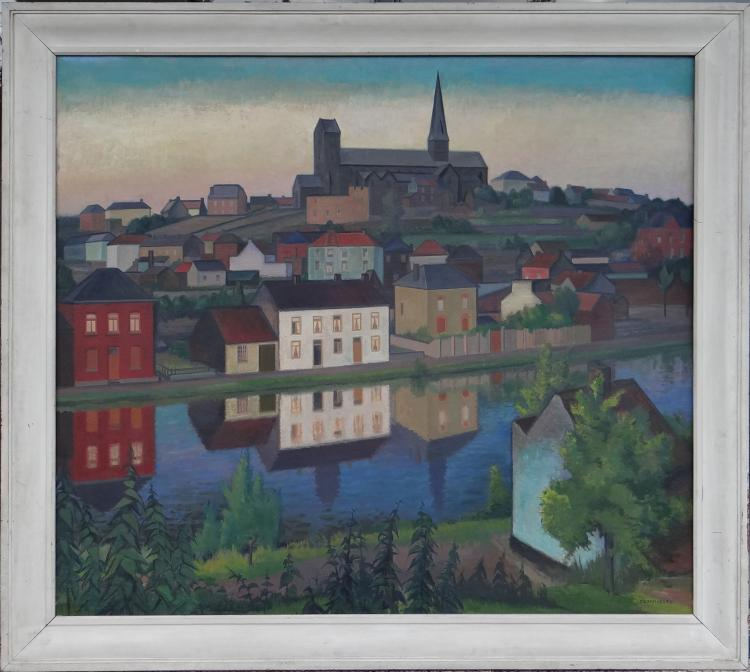 Painting oil on canvas - View of Lobbes - signed Gommaerts Fernand