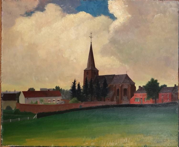 Painting oil on panel - Church of Quévy - signed Gommaerts Fernand