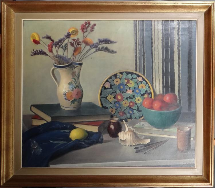 Painting oil on canvas - Still Life - signed CLAUS Louise