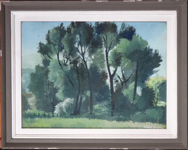 Painting oil on cardboard - Trees in the Prairie - signed RICHEZ Jacques