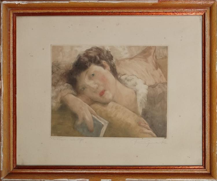 Engraving: Etching polychrome monotype - The Reader - signed REGNART Victor