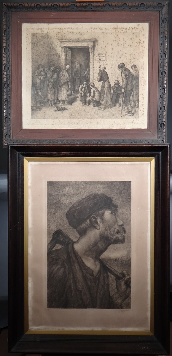 Engraving: 2 etchings - The Office of Relief 1917 - and - Miner Pic - signed DIEU Victor