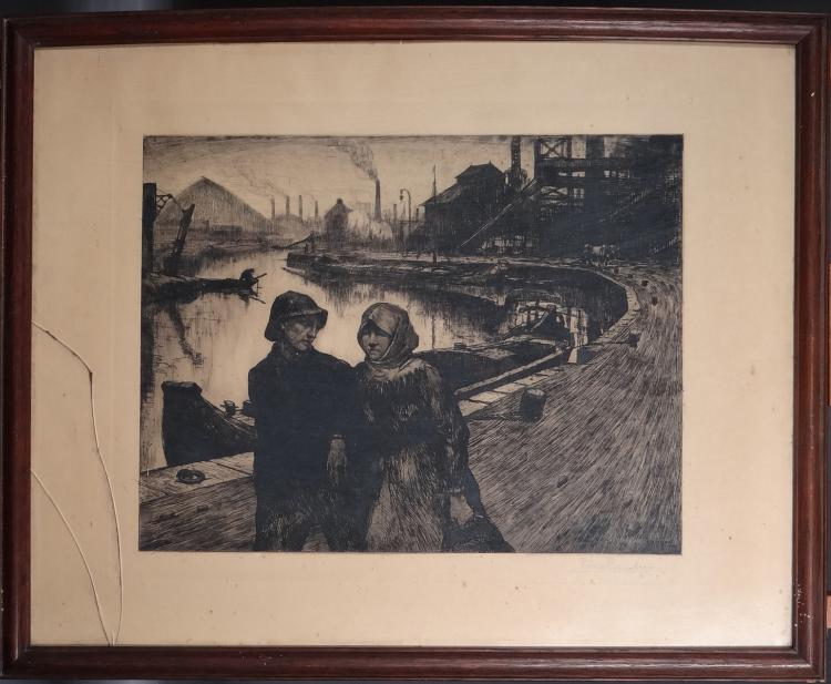 Engraving Etching - Children - signed Pierre PAULUS