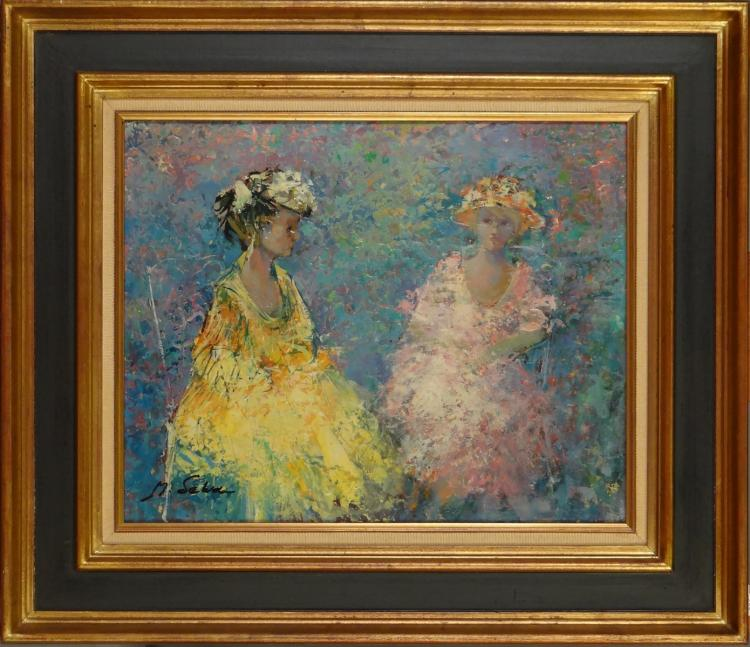 Painting oil on canvas - The Maids - signed Marc SELVA