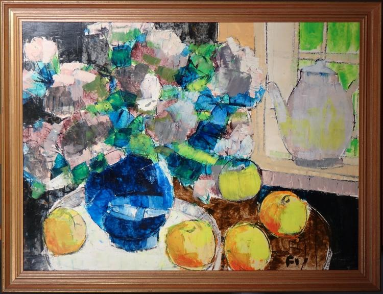 Painting oil on panel - The blue vase - of Pierre FIEVET