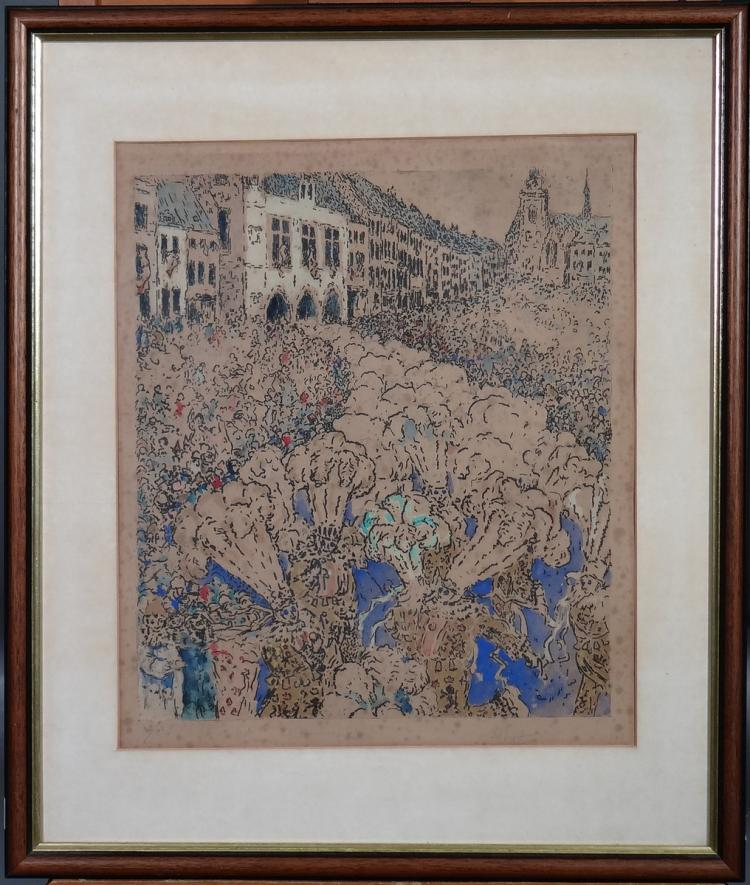 Engraving: Etching enhanced with watercolor (moisture) - the crazy day - signed VERHAEGEN Fernand