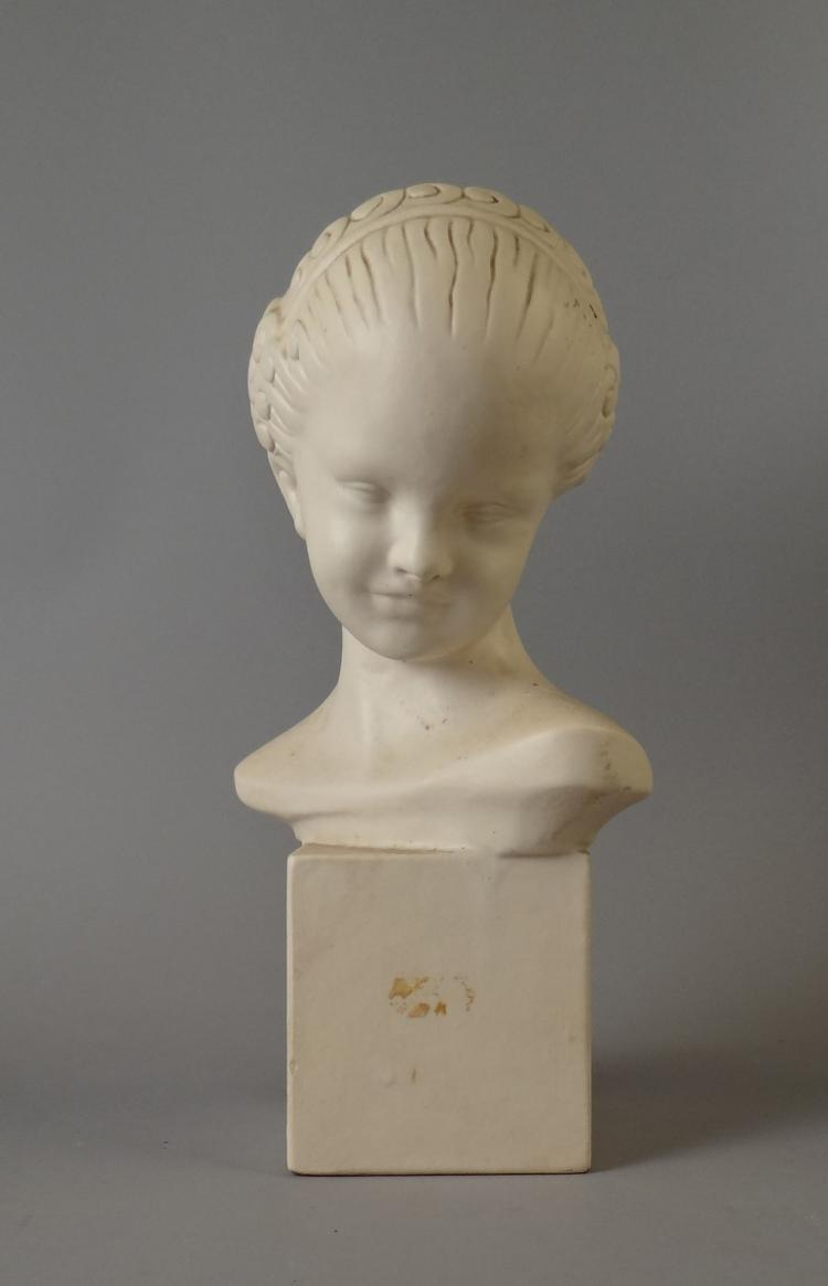 Sculpture Terracotta - maiden bust - signed WHELMA Anna
