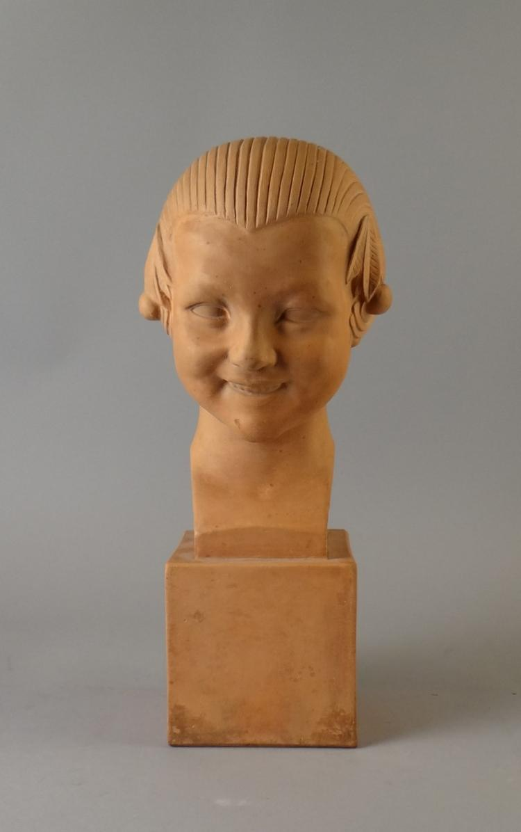 Sculpture Terracotta - maiden bust - signed GRUYER-HERBEMONT Gabrielle