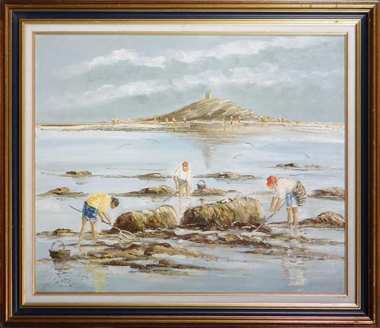 Painting oil on canvas - High tide at St Michel - signed DANIEL Christian