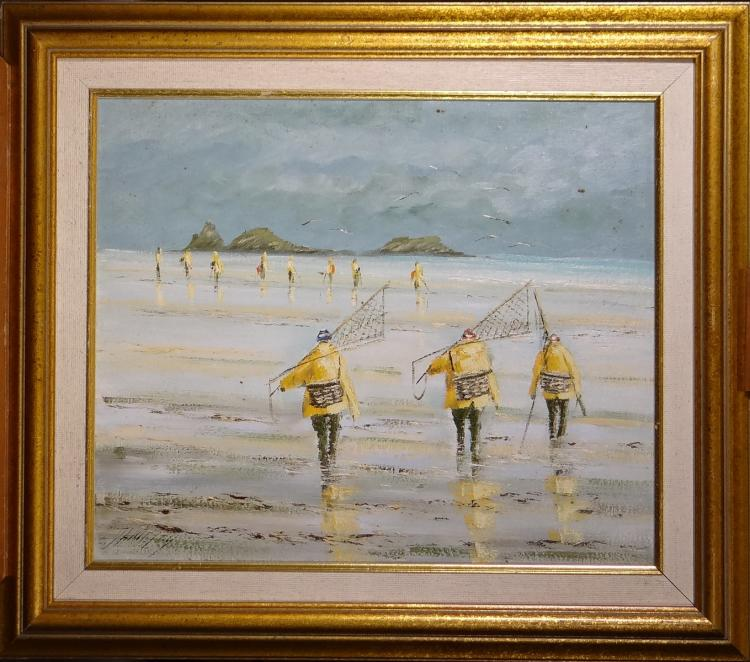 Painting oil on canvas - Les Pecheurs oysters - signed DANIEL Christian