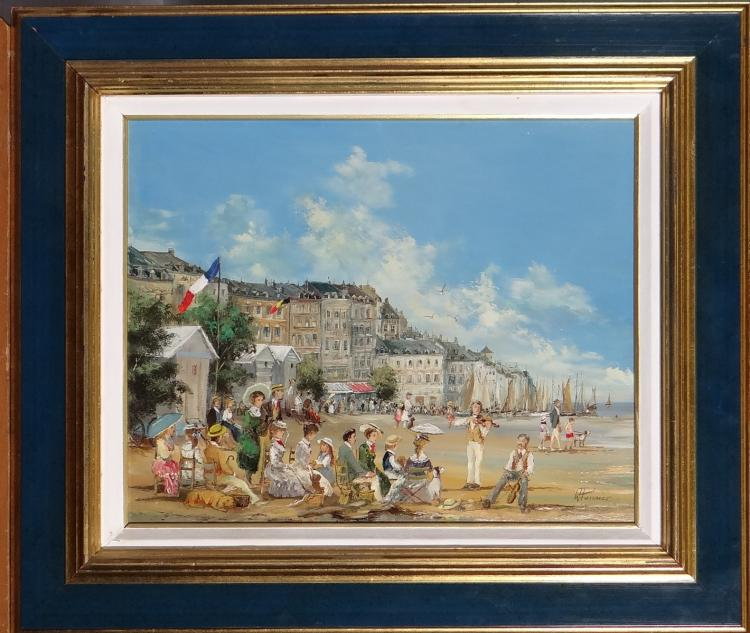 Painting oil on canvas - Sunday rest - signed Willy Pannier