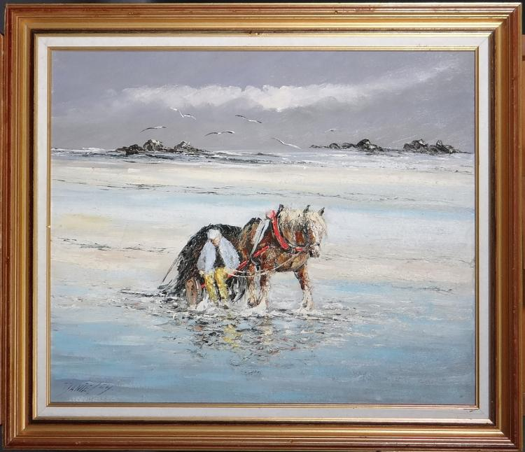 Painting oil on canvas - The goémonier - signed DANIEL Christian
