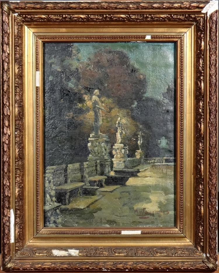 Painting oil on canvas (strengthened) - Parc of St Cloud - signed WAGEMANS Maurice