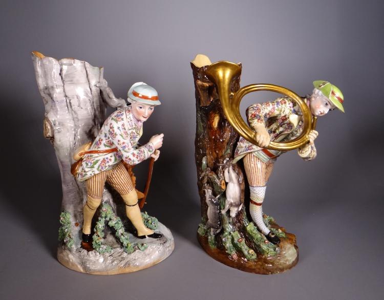 Ceramics: Pair of German porcelain jardiniere late 19th - deb 20C