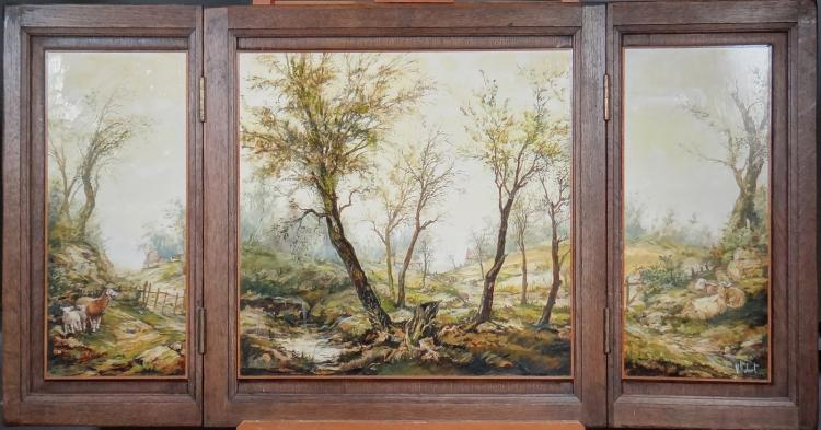 Painting triptych oil on panel - Landscape with sheep - signed HUBERT V.