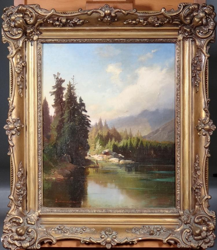 Painting oil on canvas - Landscape with fisherman - signed ZIMMERMANN 19th century