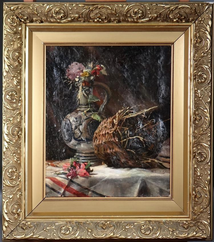 Painting oil on canvas - Still Life with Basket - signed DE SMEDT Sylva