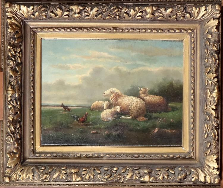 Painting oil on canvas - Sheep and chickens - signed LAMBERT G. (2nd half 19C)