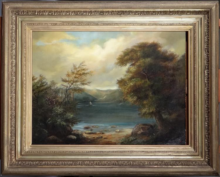 Painting oil on canvas (restoration) - Landscape with yacht - signed Kannengiesser golden frame 19C