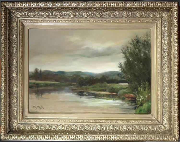 Painting oil on canvas - Landscape - signed HALKETT Francois
