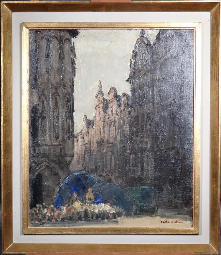 Painting oil on canvas - Grand Place of Brussel. Flower Market - signed DUTRIEU Michel