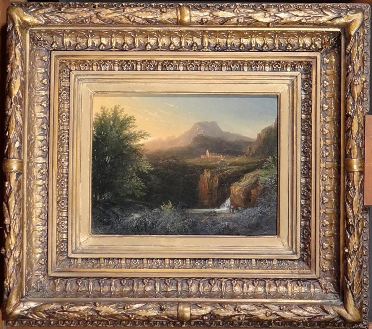 Painting oil on canvas - Animated Landscape - monogrammed S.D. German school early  19C