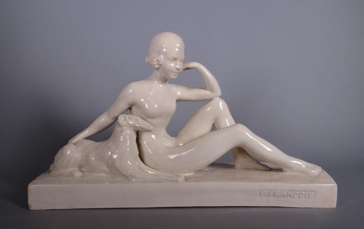 Ceramics: Group - Nude female sitting with greyhound - in cracked earthenware signed FRANCOIS L. Circa 1930
