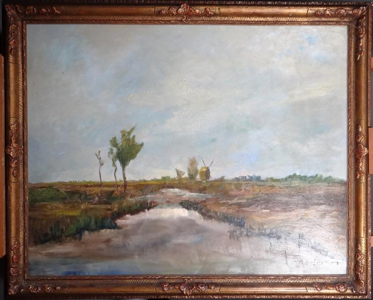 Painting oil on panel - Landscape with a Mill - signed Frans VAN LEEMPUTTEN