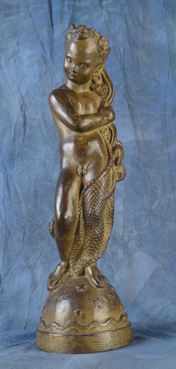 Sculpture: Bronze - fisherman Child - signed DARVILLE Alphonse