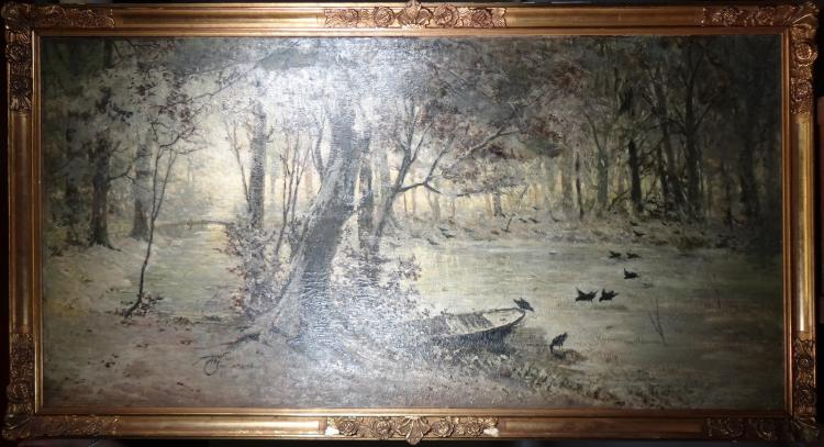 Painting oil on canvas - Undergrowth in winter - signed Henri VAN SEBEN