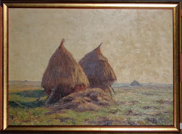 Painting oil on panel - Grinding wheels - signed Henri DEGLUME