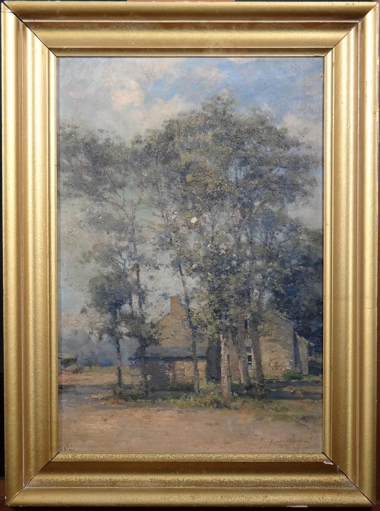 Painting oil on canvas - The miller's house - signed Louis Van Engelen