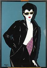 Painting: Eglomisé and mixed media - Sunglasses - possible attribution to Patrick Nagel with book