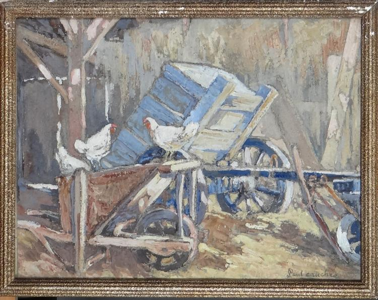 Painting: Watercolor - Hens on a wheelbarrow - signed CAUCHIE Paul