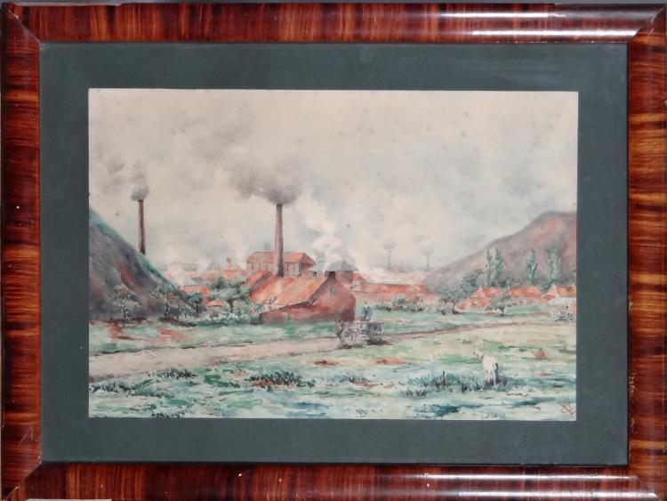 Painting: Watercolor - The dumps - signed LIBIEZ Claire