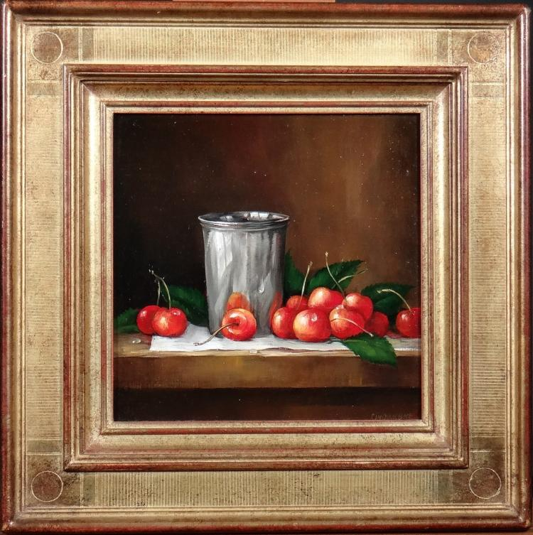Painting oil on canvas - Still life with cherries and cup - signed Cinqualbre 20C