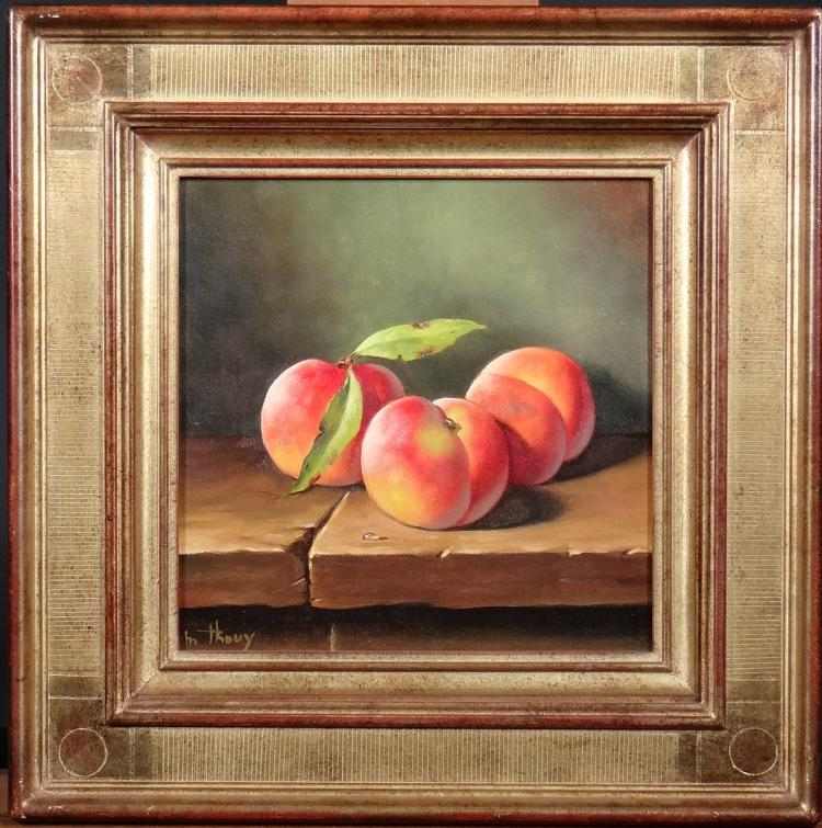 Painting oil on canvas - Still life with three peaches - signed Marc THOUY
