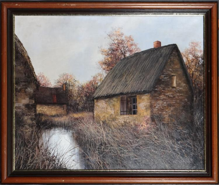 Painting oil on canvas - Farm along the water - signed CUBAYNES Jean-Claude