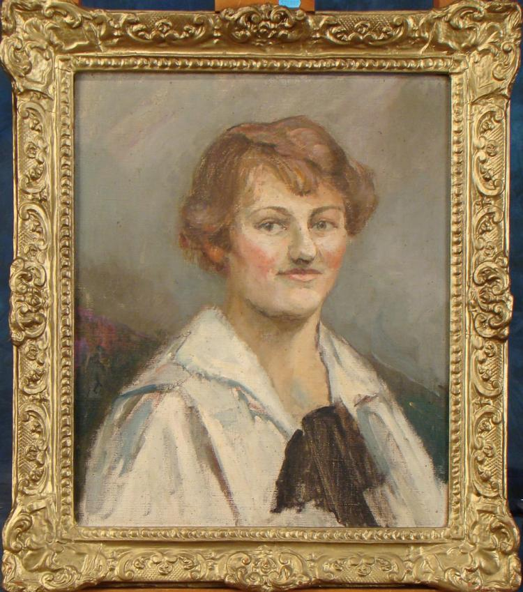 Painting oil on canvas - Portrait of a Lady - signed on the back Marie BERTON